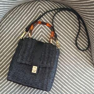Topshop Black Skyla Straw Grab Bag